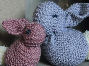 Easter Bunnies Toys in Rowan Baby Merino Silk DK