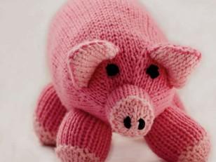 Pink Pig Toy in Cascade 128 Superwash - C202